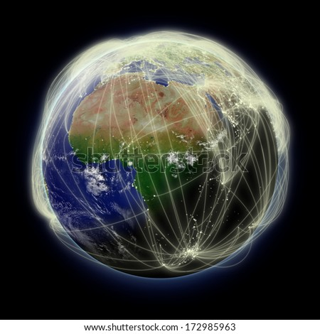 Network of flight paths over Africa on blue planet Earth isolated on black background. Highly detailed planet surface. Elements of this image furnished by NASA. - stock photo