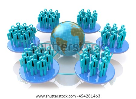 Network of social groups in the design of information related to communication in the world. 3d illustration - stock photo