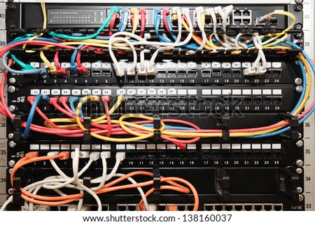 Network panel, switch and cable. Selective focus - stock photo