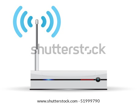 network router with wireless transmission - stock photo