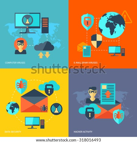 Network security design concept set with computer viruses e-mail spam hacker activity flat icons isolated  illustration - stock photo