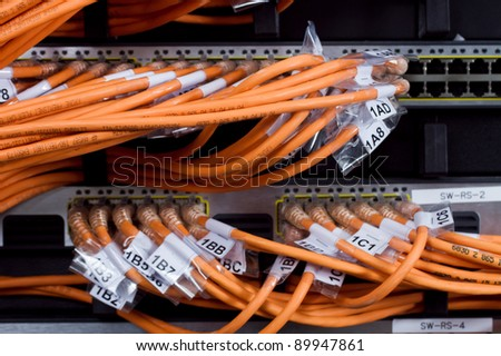 network server room routers and cables - stock photo