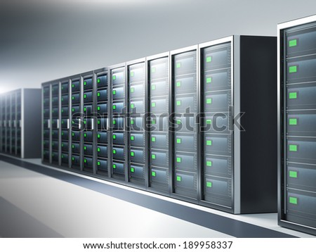Network server room, row of servers - 3d illustration - stock photo