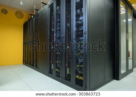 Network server room with internet computers - stock photo