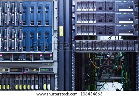 Network servers in a data center. - stock photo