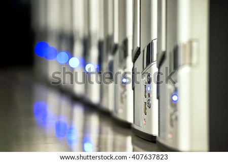 Network servers in a data center background IT - stock photo
