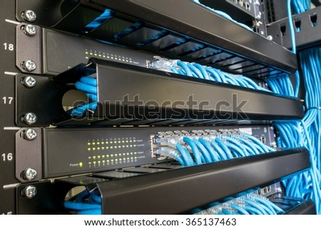 Network switch and ethernet cables - stock photo