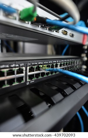 Network switch and ethernet cables,Data Center Concept To communicate - stock photo