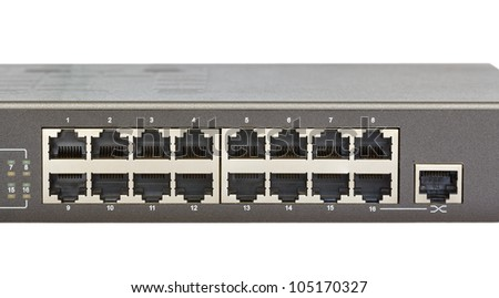 Network switch front panel with 16 ports and uplink port isolated - stock photo