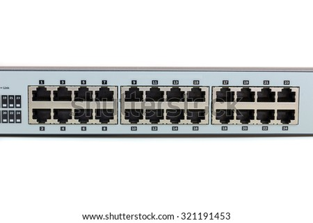 Network switch mount port for connect network on white background - stock photo