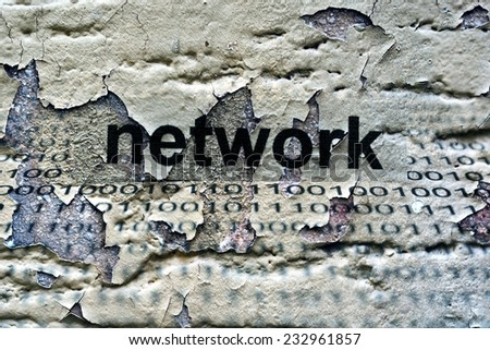 Network text on grunge background - stock photo