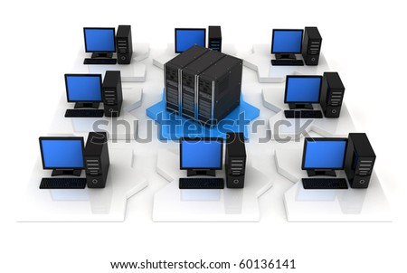 network, view front (done in 3d, isolated) - stock photo