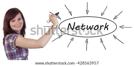 Network - young businesswoman drawing information concept on whiteboard.  - stock photo