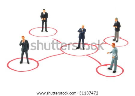 networking business people isolated on white background - stock photo