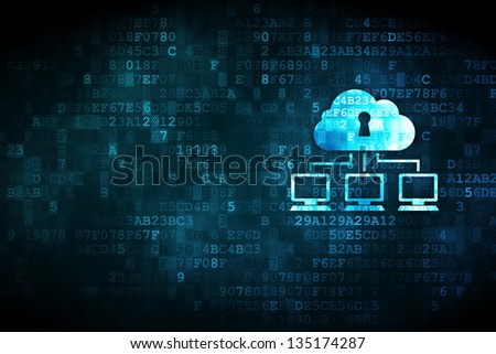 Networking concept: pixelated Cloud Network icon on digital background, empty copyspace for card, text, advertising - stock photo