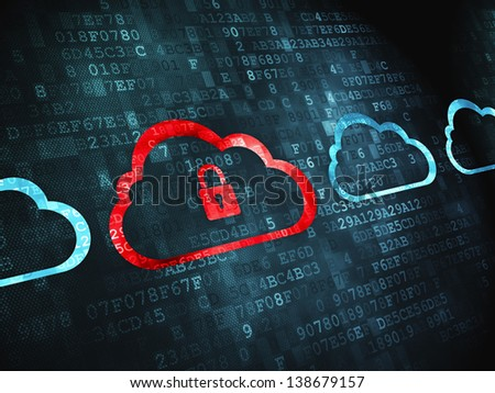 Networking concept: pixelated Cloud Whis Padlock icon on digital background, 3d render - stock photo