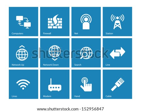 Networking icons on blue background. See also vector version. - stock photo