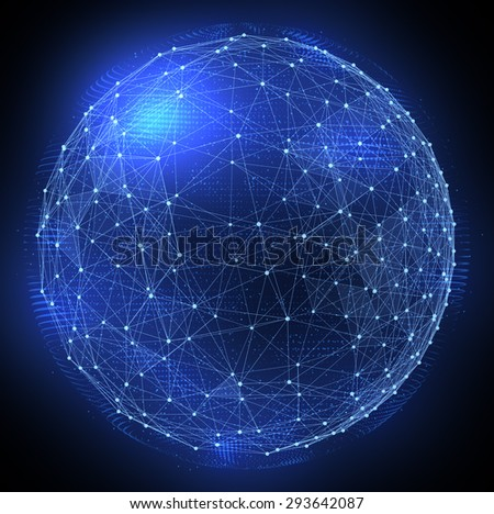 Networks. Globe design. Abstract digital illustration. - stock photo