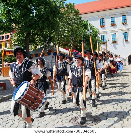 NEUBURG AN DER DONAU - JULY 5: historical soldiers at the festival on July 5, 2015 in Neuburg, Germany. This is folk festival in renaissance city Neuburg in Bavaria, Germany - stock photo
