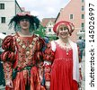 NEUBURG AN DER DONAU - JUNE 30:traditional German medieval costums at the festival on June 30, 2013 in Neuburg, Germany. This is annually festival  in renaissance city Neuburg in Bavaria, Germany - stock photo