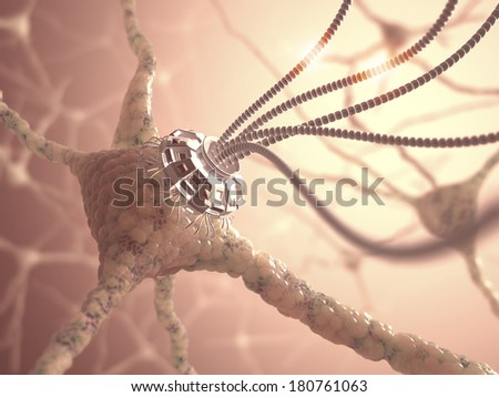 Neural network with one artificial connection in nanotechnology concept. - stock photo