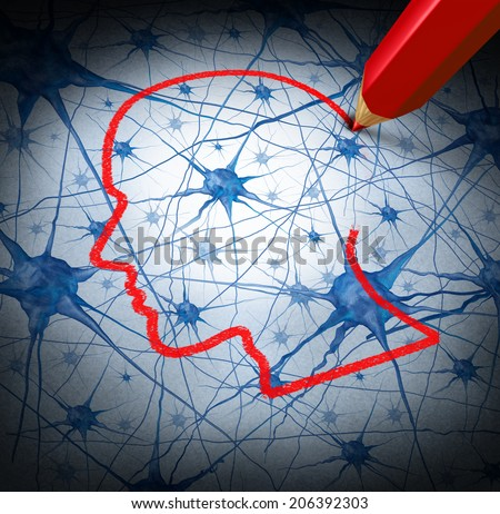 Neurology research concept examining the neurons of a human head to heal memory loss or cells due to dementia and other neurological diseases as a mental health metaphor for medical research hope. - stock photo