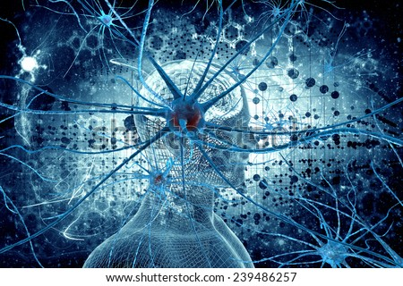 Neurons and man natural background - stock photo