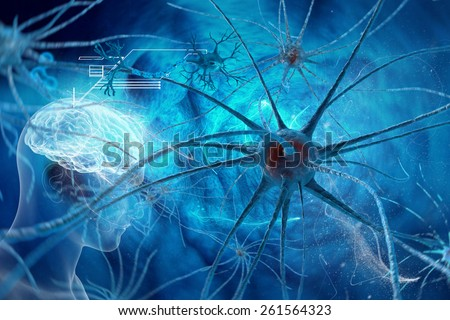 Neurons - Synapse in human neural system - stock photo