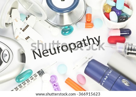 Neuropathy concept photo with medical supplies. - stock photo