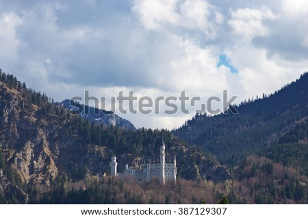Neuschwanstein castle (Bavaria, Germany) - stock photo