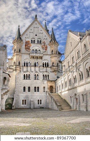 Neuschwanstein Castle courtyard, Bavaria, Germany. - stock photo