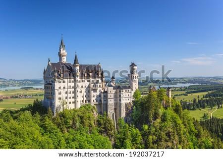 Neuschwanstein castle, Fussen, Bavaria, Germany - stock photo