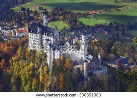 Neuschwanstein Castle, Germany. View of Neuschwanstein Castle during autumn day. - stock photo