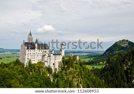 Neuschwanstein castle in Bavaria, Germany - stock photo