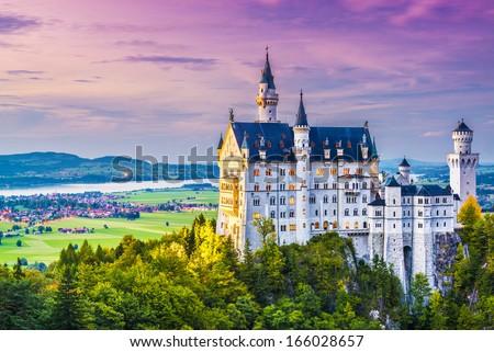 Neuschwanstein Castle in Germany. - stock photo