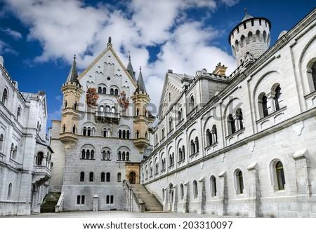 Neuschwanstein Castle. Nineteenth-century Romanesque Revival palace in southwest Bavaria, Germany. - stock photo