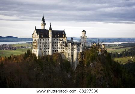 Neuschwanstein Castle on a beautiful autumn day. - stock photo