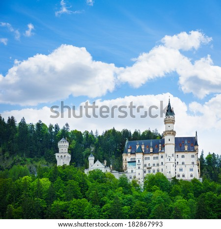 Neuschwanstein castle view in the forests in Bavaria - stock photo