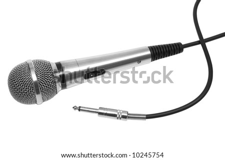 New and metal microphone on a white background - stock photo