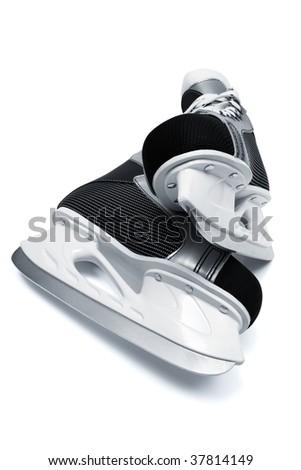 new and modern black skates close up - stock photo