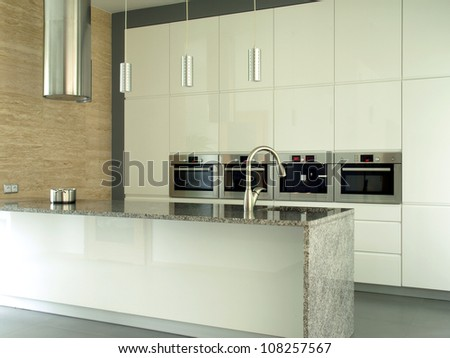 New and modern kitchen in bright colors - stock photo