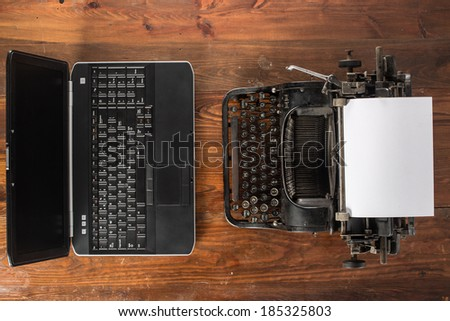 New and old typing machines - stock photo