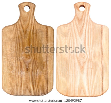 New and used chopping boards isolated on white - stock photo