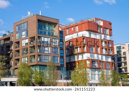 New apartment houses in the Hafencity in Hamburg - stock photo
