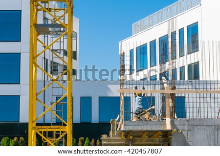 new apartment under construction - stock photo