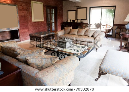 new apartments living room with classic oriental furniture - stock photo
