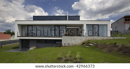 new architecture expensive house - stock photo