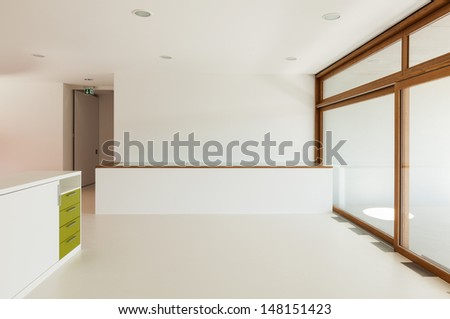 new architecture, interior, elementary school, large hall - stock photo