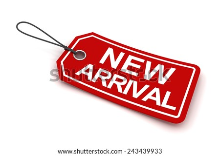 New arrival tag, 3d render, white background - stock photo