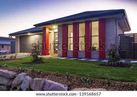 New australian townhouse front at dusk - stock photo